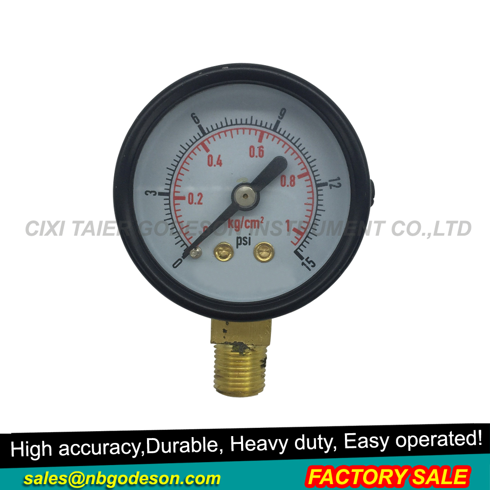 Black steel air bourdon tube pressure gauge