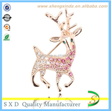 Sparkly Pink Purple Tone Crystals Inlay Christmas Reindeer Animal Brooches Pin