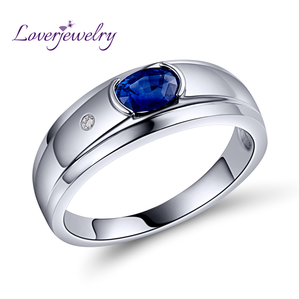 Natural Blue Sapphire Mens Ring Shinning <strong>Diamond</strong> With Real 18K Gold White/AU750 White Gold WU292