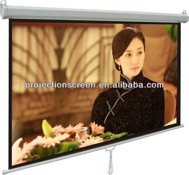 HD Video cinema auto-lock Manual projector screen ,Matte white 0.38mm ,customized size ,low price,good quality,OEM production