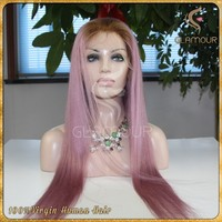 Direct from factory silky straight pink ombre lace wig high quality Brazilian human hair full lace wig