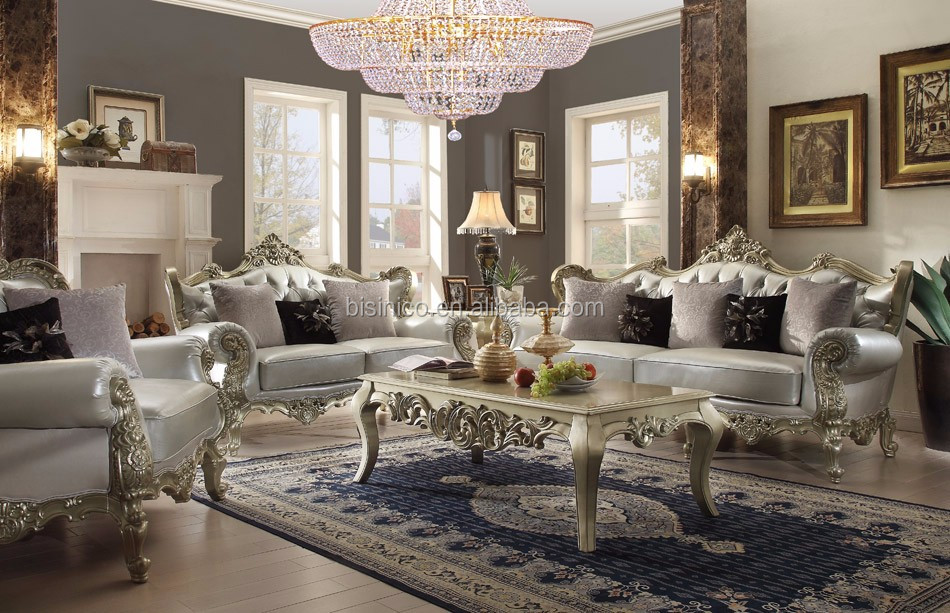 Bisini European Royal Champagne Gold And Silver Leaf Wooden Hand Carved Sofa Set With Coffee table(MOQ=1 Set)