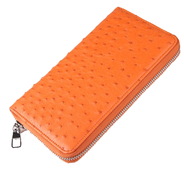 Women fashion zipper ostrich pattern genuine leather wallet