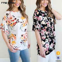Drop-shoulder ruffle sleeves floral fashion clothing women top
