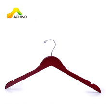 Solid wood cherry color factory clothes hanger for coats