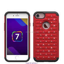 Free sample Hot selling diamond case PC Hard Silicone Protective Cover Phone Case for iphone 7 cover