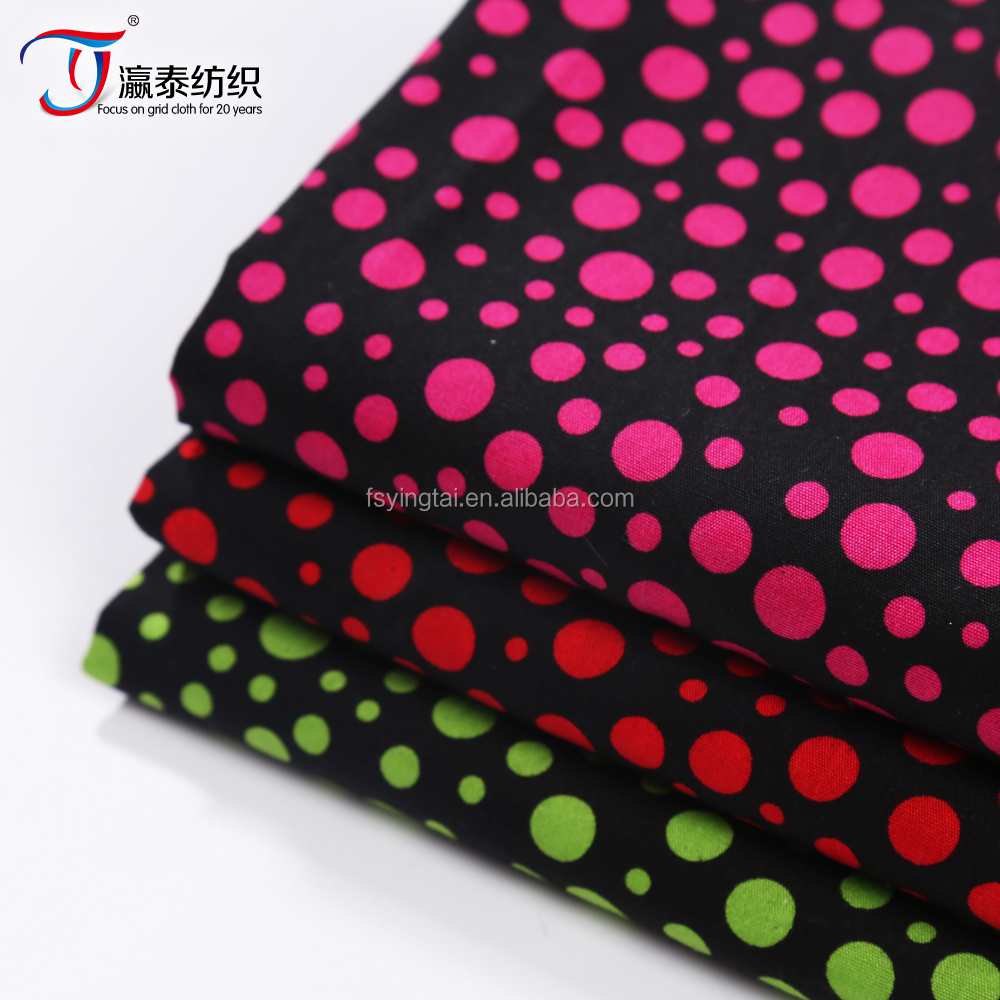 classic polka dot printing fabric for girls' dress cotton poplin fabric competitive factory price
