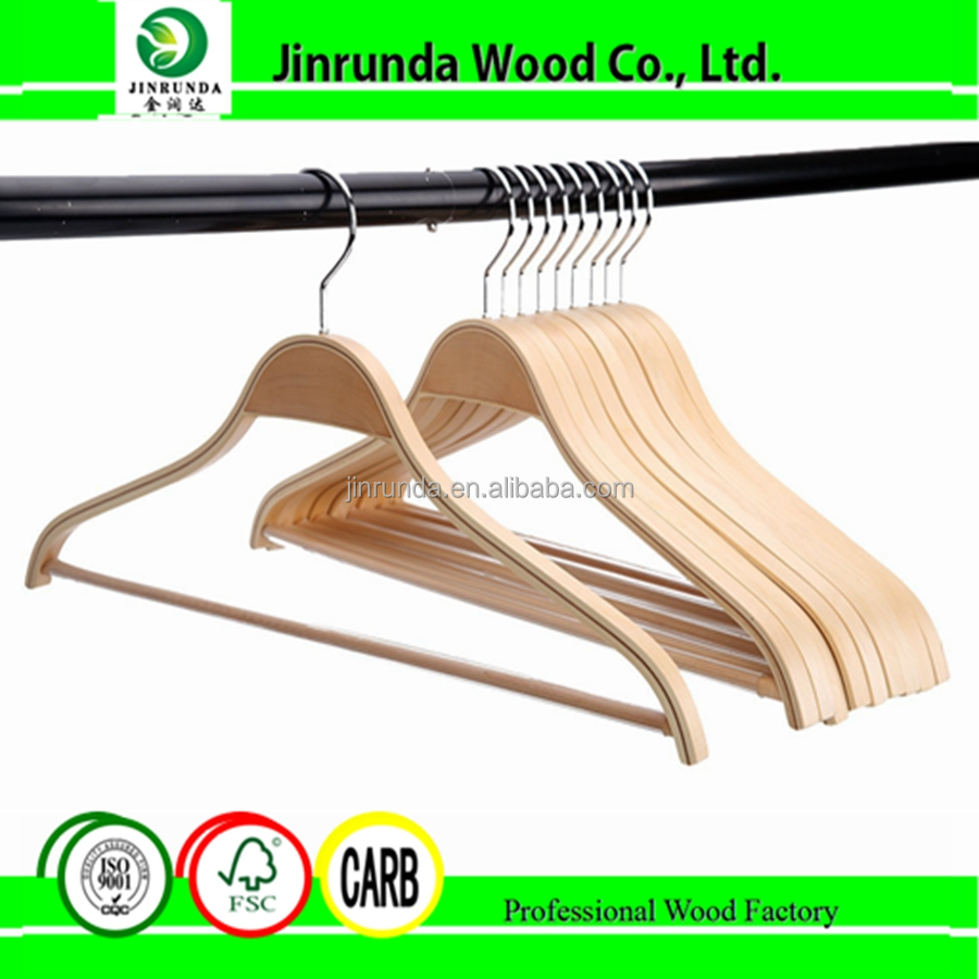 Light Wooden Coat Shirt Hangers Clothes Hangers Fine Articles Of Clothing With Adjustable Clips