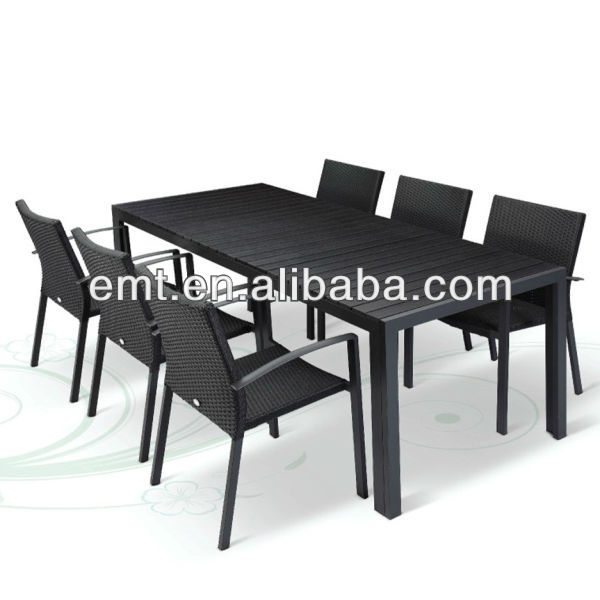 Hotel out furniture with 1 long wood chair &6 rattan chair(EMT-1232C&7113DT)