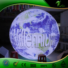 Diamater 3m Hanging Inflatable LED Earth Balloon ,Inflatable Tradeshow Helium Balloon