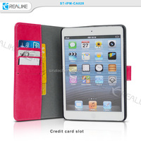 best selling pu leather removable tablet case for ipad mini retina with bank card holders