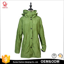 OEM Service Spring Autumn Women's custom windbreaker Long Length Zip up and button Parka Thin Jacket