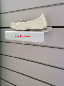 Free Shipping! slatwall acrylic shoe display shelf ,plexiglass shoes display wall shelf