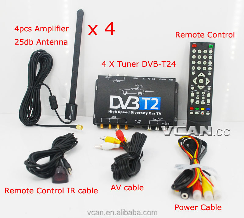Car dvb t2 digital TV receiver 4 Tuner 4 Antenna USB HDTV Russia Thailand High Speed