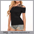 Guangzhou Custom Oem Wholesale Sexy Style Black Solid Off the Shoulder Bandage Short Sleeve Female Casual Tops