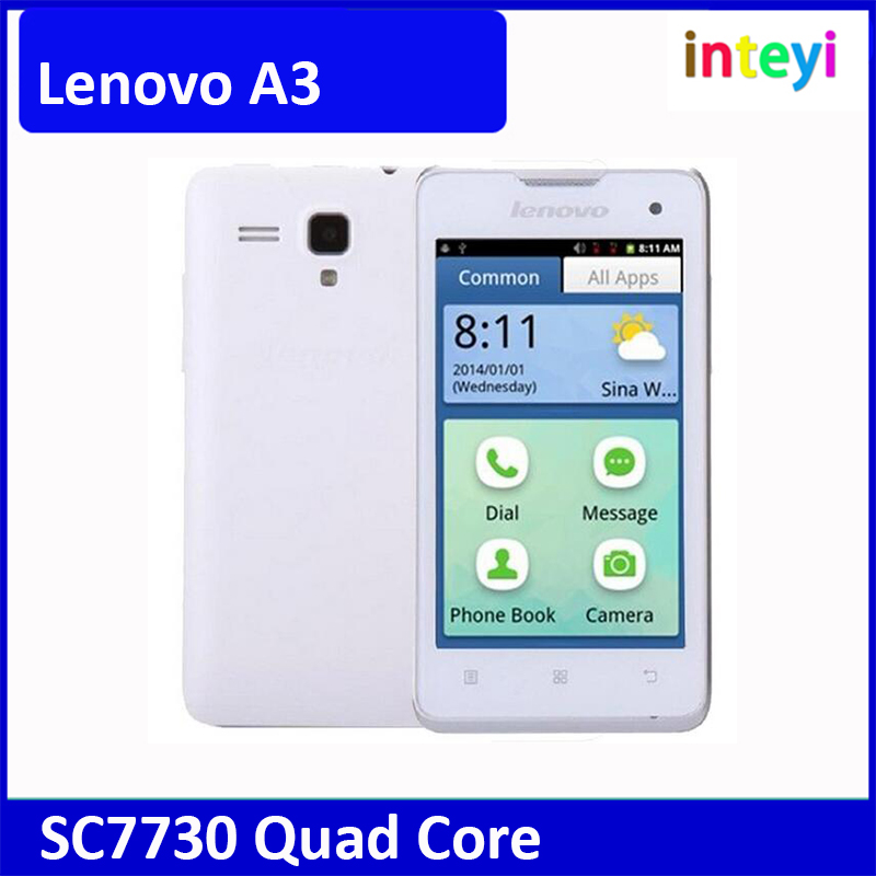 Lenovo A3 Smartphone 4.0inch Android 2.3 SC7730 Quad Core 1.2GHz Support 3G WCDMA & GSM Dual SIM GPS Bluetooth WIFI
