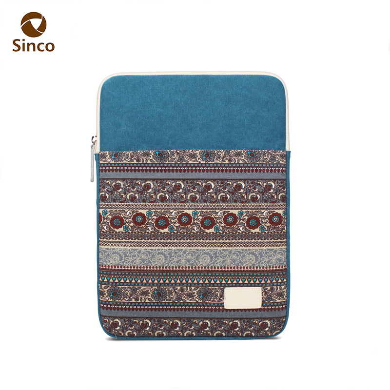 Wholesale fancy high quality canvas material laptop sleeve case bag 13 inch