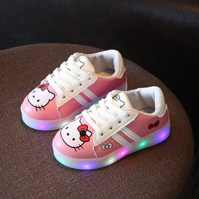 Dropship Children <strong>Shoes</strong> New Spring Hello Kitty Rhinestone Led <strong>Shoes</strong> Girls Princess Cute <strong>Shoes</strong> With Light 21-30
