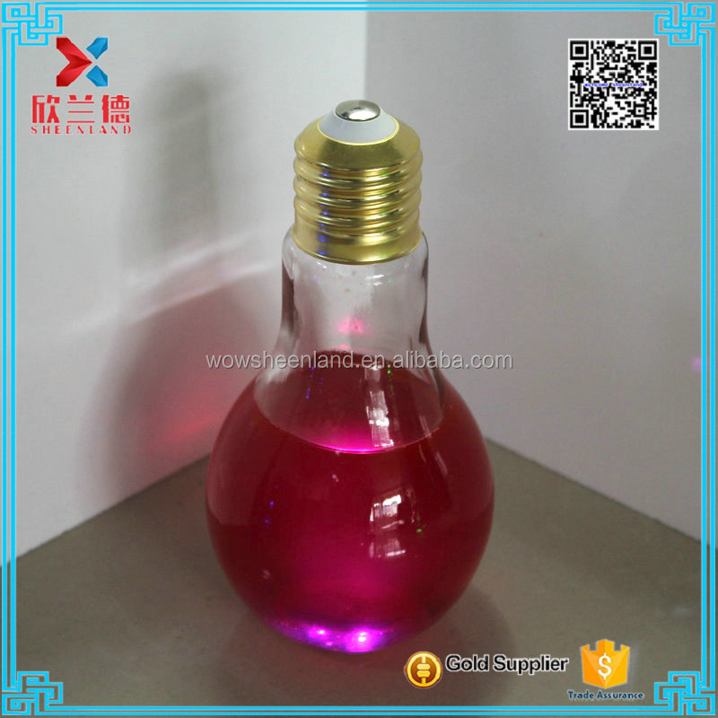 470ml shining light bulb glass bottle with screw cap drinking straw