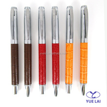 Luxury PU leather wrapped metal pens