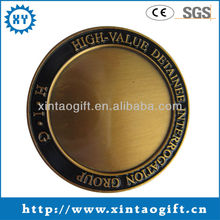 3D Antique brass blank coin with logo