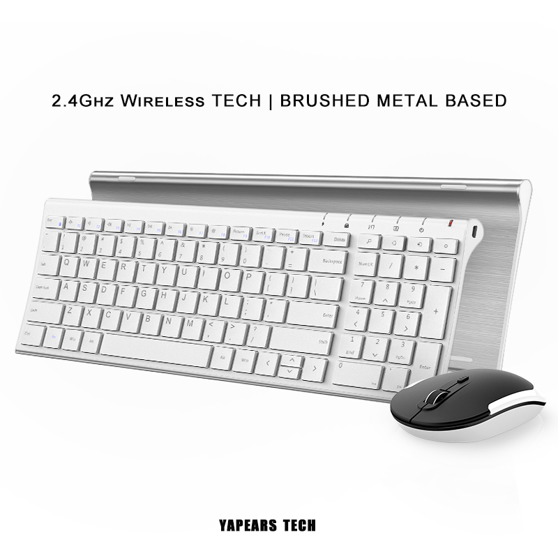 Standard Ultra Thin Stainless Steel 2.4 Ghz Wireless Bluetooth Keyboard and Mouse combo BCM20730 for Desktop PC