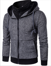 Man young sports knit hoodie sweater fake two pieces zip cardigan for men