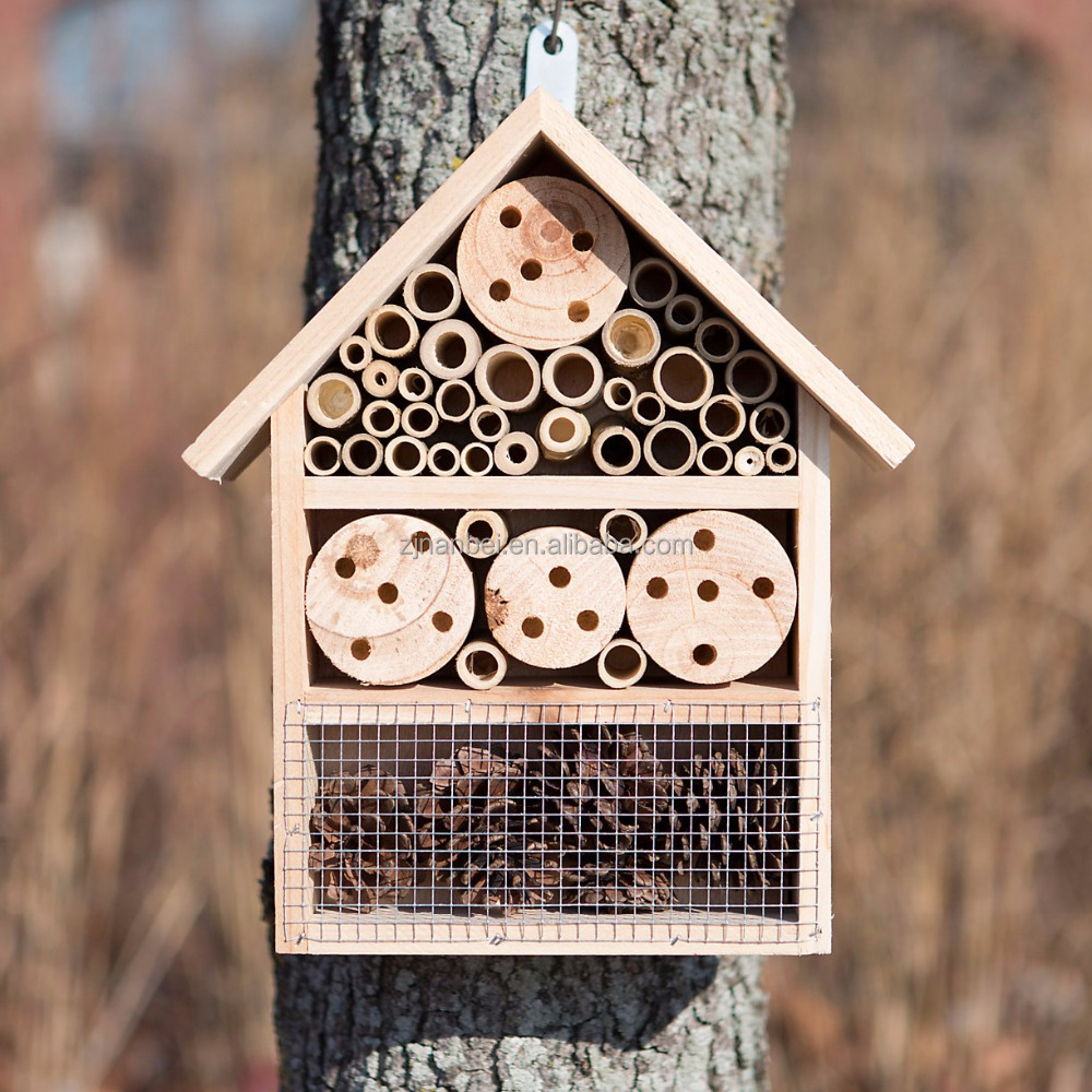 Hanging outdoor wooden insect house, bee hotel