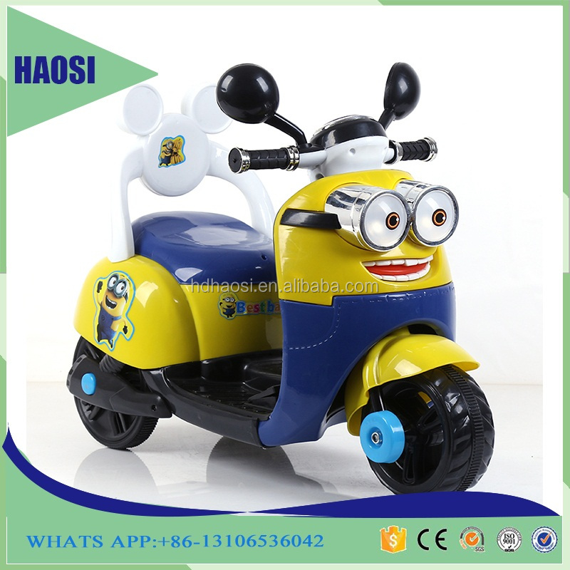 2016 hot sale kids electric 3 wheel motorcycle, minions Rechargeable battery children motorcycle electric kids motorcycle car