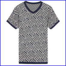 European traditional style men stylish v-neck yarn dyed t shirt custom young men hemp t shirt