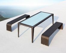 Out door contemporary patio dinner furniture long table and wicker restaurant bench seat