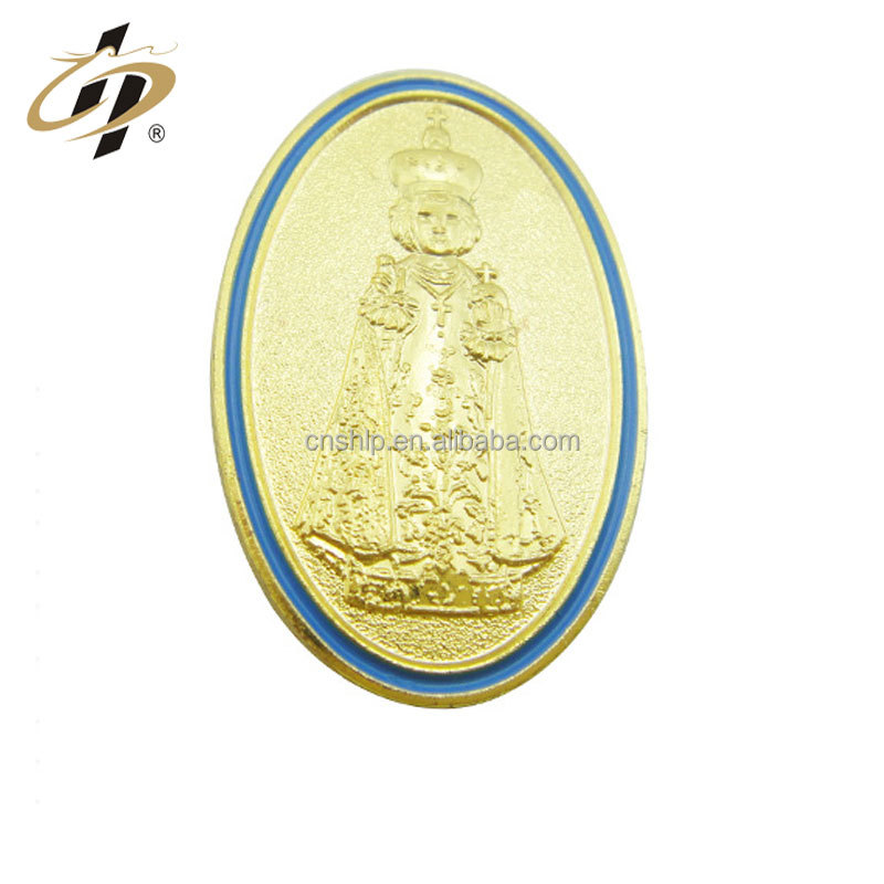 Wholesale custom gold silver plated stamping religion lucky charm