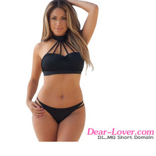 2016 Black Shirr Strappy High Neck Sexy bra and Panty Fashion Bikini Swimsuit