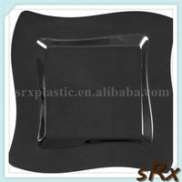 12 inch wave square black plastic luncheon dinner plate,OEM CHIC BPA FREE unique plastic square lunch dish
