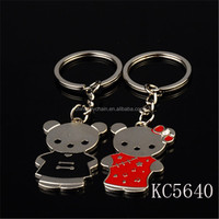 Wholesale metal cute animals elegant bear shapes couple keychains