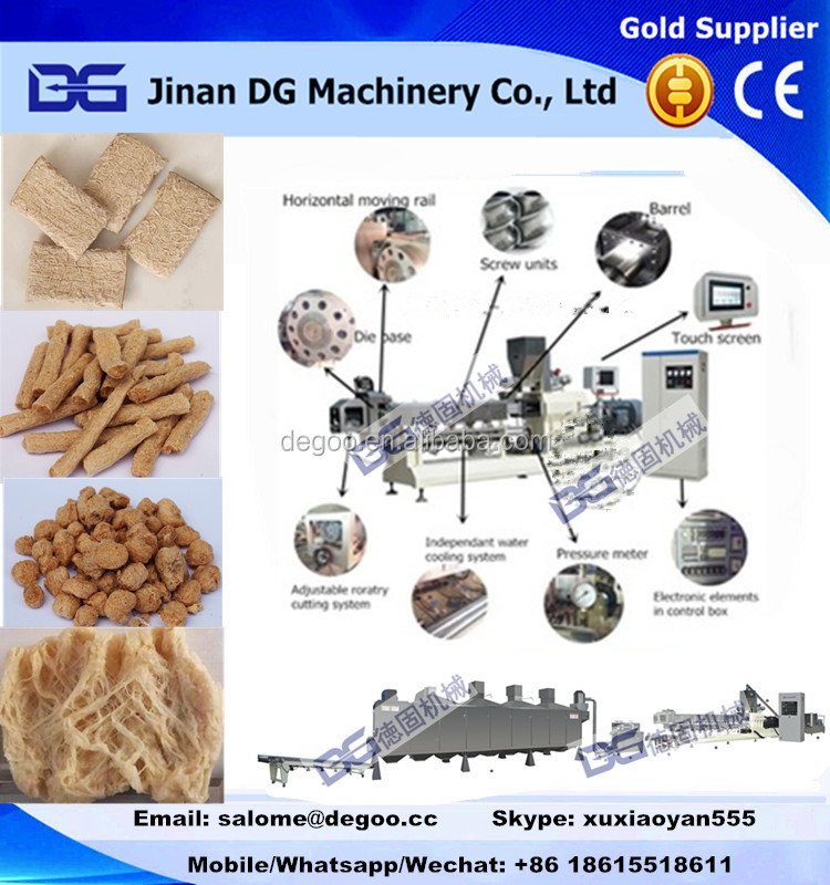 Automatic twin screw extruder textured soya protein making machine /soy meat processing line/soya nuggets production line