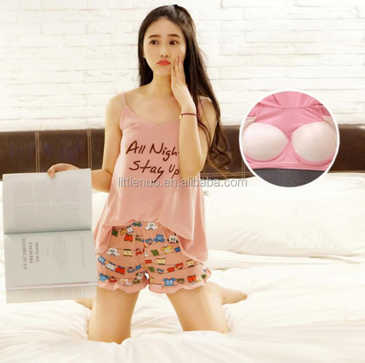 NP0065Z Summer Spaghetti Straps Shorts Suit Cute Pajamas with Padding