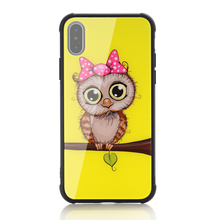 Cartoon animal cute bird tempered glass phone case for iphone X