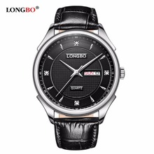 LONGBO 5005 Fashion Passes Japan Movt Diamond Quartz Watch Week Display Leather Double Strap Watches For Men Women