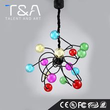 Factory Modern magic colorful wire hanging glass ball chandelier for bar coffff shop decoration