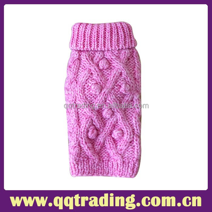 Pink High Quality Wool Cashmere Fashion Hand Crochet Dog Sweater