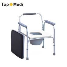 Easy To Clean Detachable Seat Aluminum Height Adjustable Patient Commode Toilet Chair For Elderly