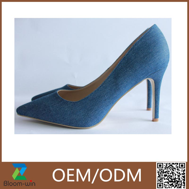 hot-saling women dress leather pointed denim high heel canvas shoes GuangZhou