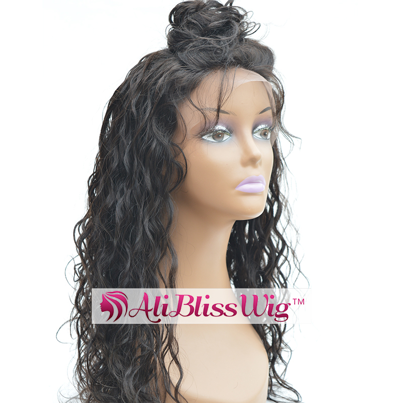 Cheap 18 Inch 130% Density Black Brazilian Virgin Human Hair Glueless Lace Front Long Curly Wig with Baby Hair for Black Women