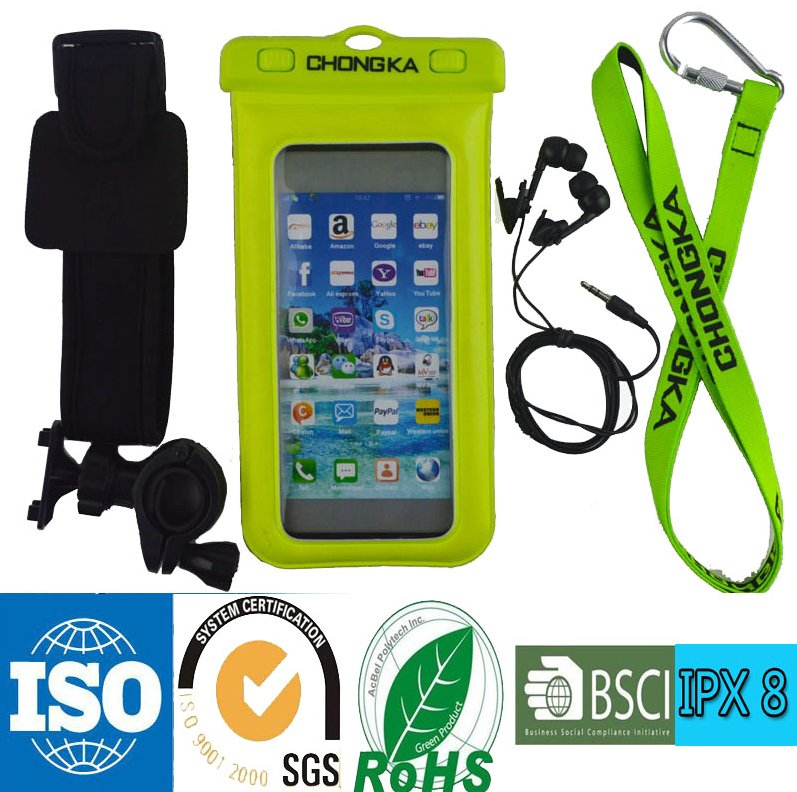 Pvc Waterproof Bag Case with Earphone For Iphone 6