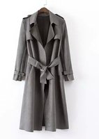 EY0502C Women Fashion Leather Patchwork Long Sleeve Winter Trench Coats