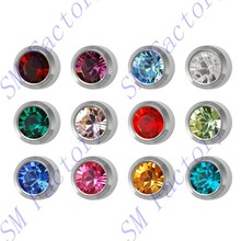 studex ear piercing stainless steel stud earrings 4mm bezel setting birthstones body piercing jewelry --SMFJ430063