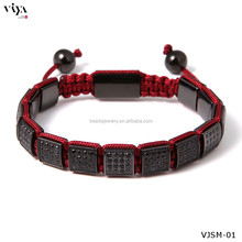 New Arrival 316l stainless steel micro pave cnc black zircon stone square bead bracelet men