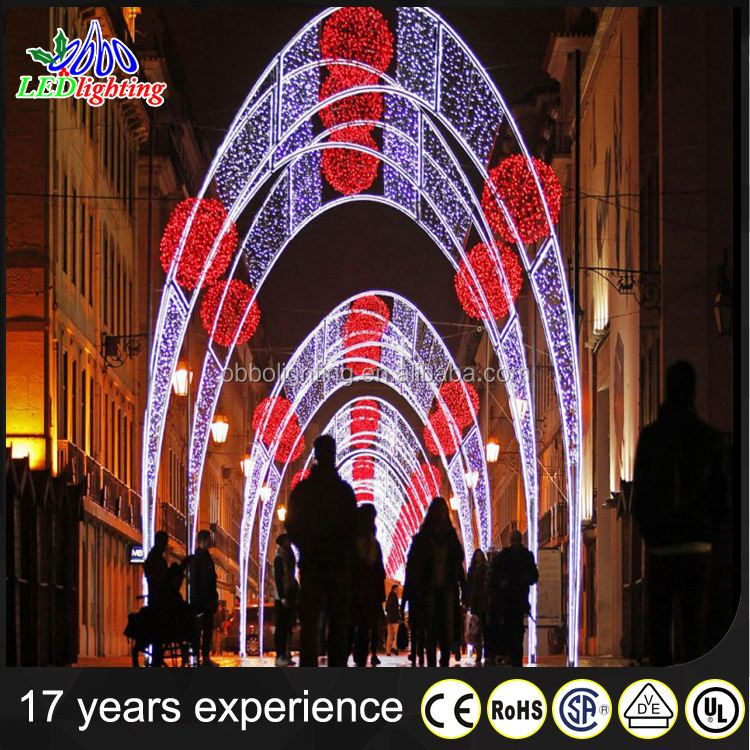 2016 Super Wholesale Outdoor Christmas Light LED Arch Lights with red ball
