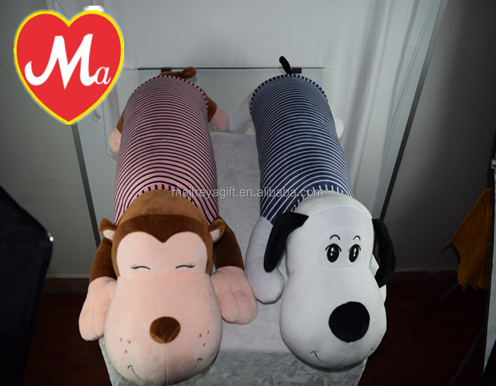 Cute stuffed plush long and soft pillow bolster monkey and dog toys
